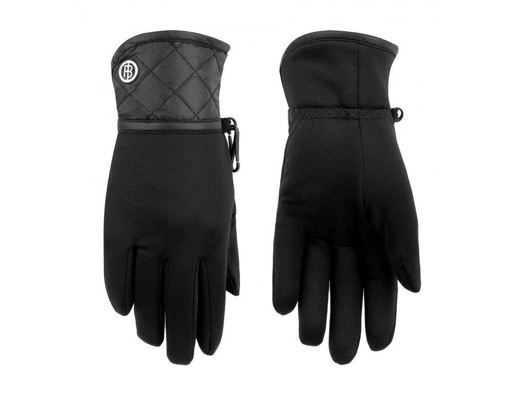 POIVRE BLANC W19-1775-JRGL/A STRETCH FLEECE GLOVES BLACK