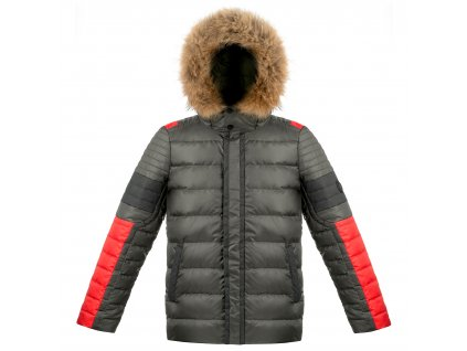 POIVRE BLANC W18-1215-MN/B DOWN JACKET KHAKI GREY/SCARLET RED