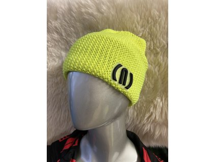 12083 1 neon crochet beanie patch yellow fluo