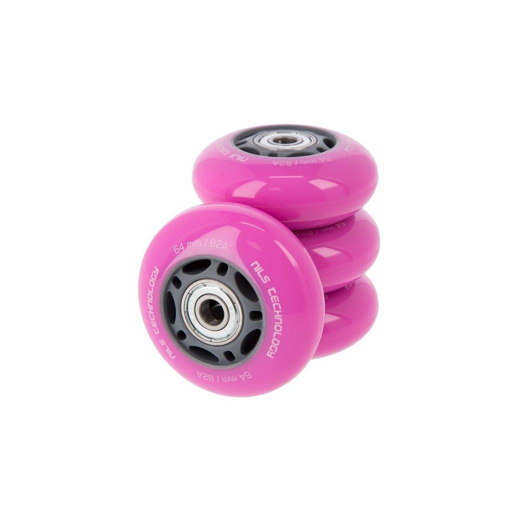 PU kolečka s ložisky NILS EXTREME 64x24mm ABEC 7 růžové