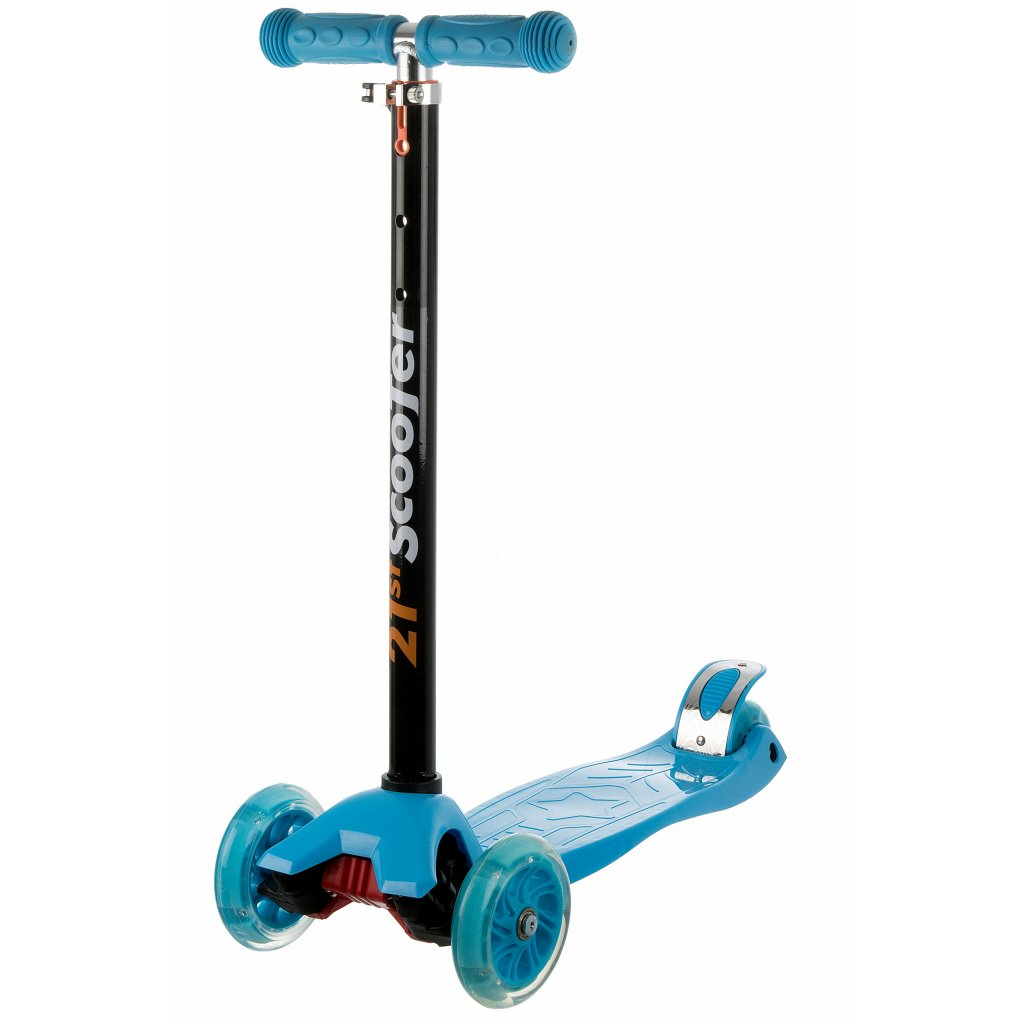 kolobezka detska trikolova balancni svitici kola maxi scooter 60kg modra