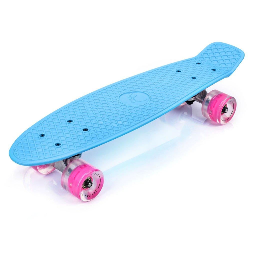 eng pl PLASTIC SKATEBOARD METEOR WITH LED WHEELS blue 34959 1
