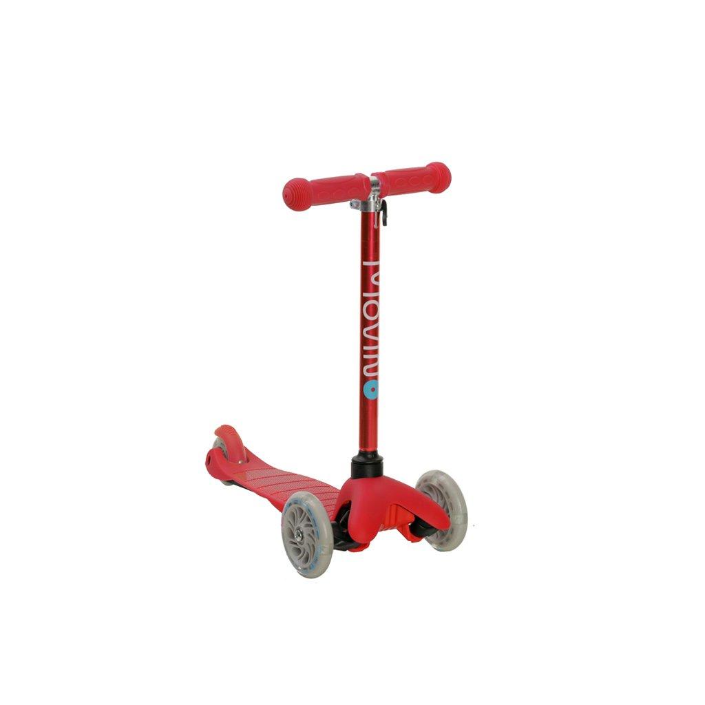 Kolobezka trikolova balancni svitici kola led brzda barevna detska cervena