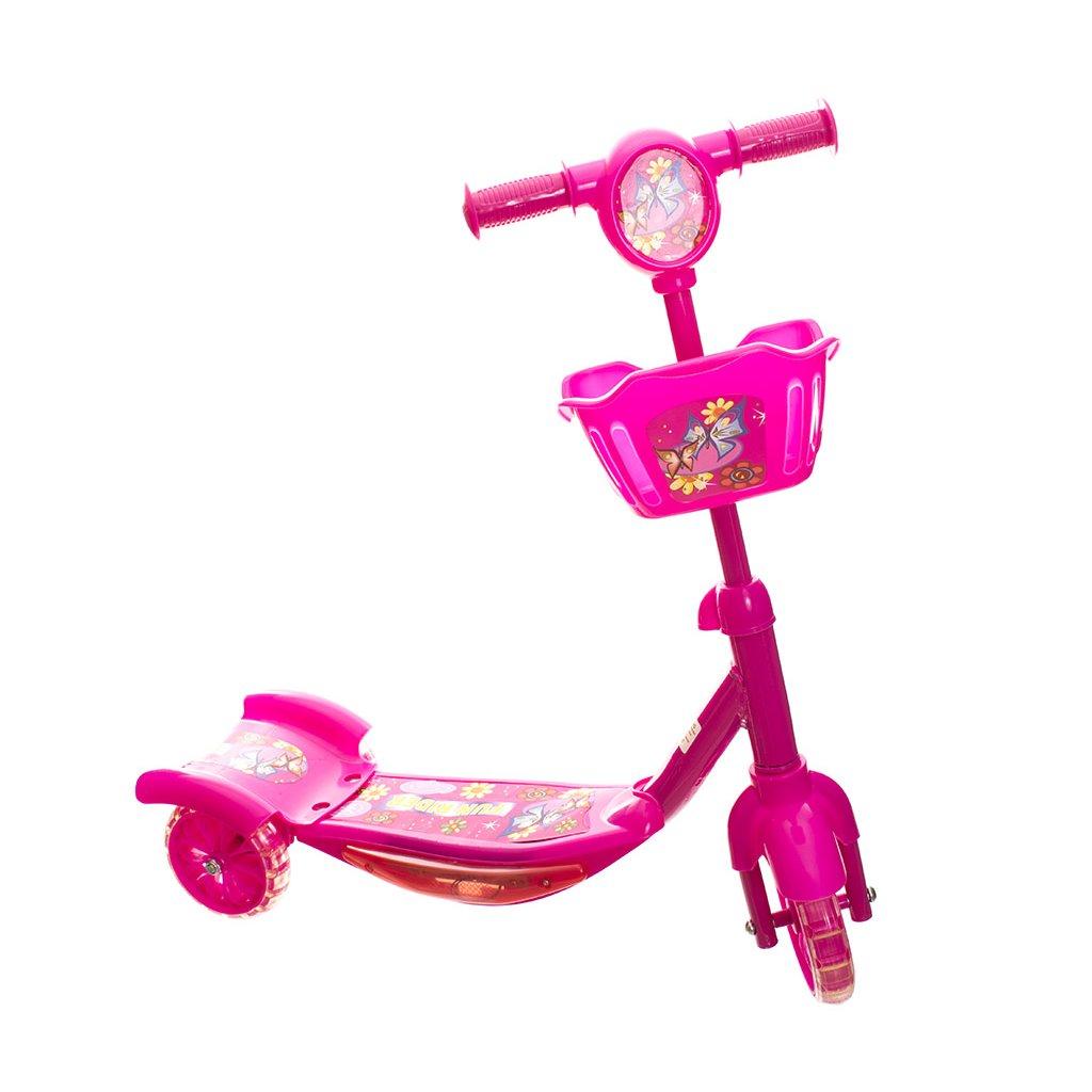 koloběžka s košíčkem se svítícími kolečky růžová2