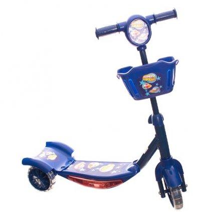 koloběžka s košíčkem se svítícími kolečky modrá3
