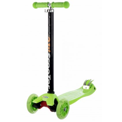 kolobezka detska trikolova balancni svitici kola maxi scooter 60kg zelena