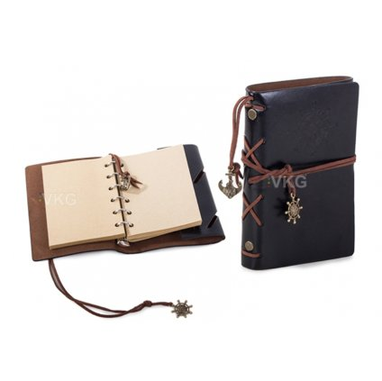 Cestovní retro deník, černý