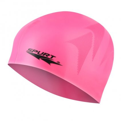 Silikonová čepice SPURT SC16 s plastickým vzorem, růžová