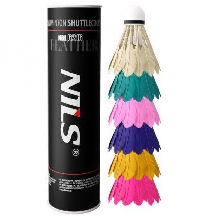 Badmintonové míčky z peří NILS NBL6216 multicolor 6 ks