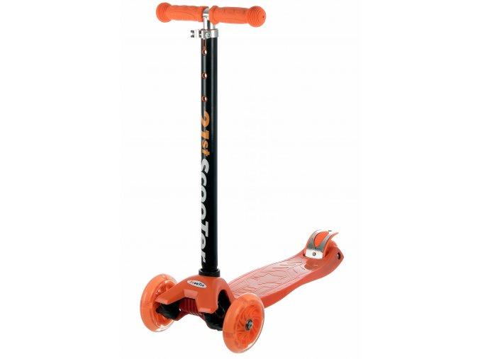 kolobezka detska trikolova balancni svitici kola maxi scooter 60kg oranzova