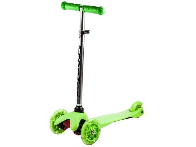 Kolobezka trikolova trojkolka trikolka mini scooter svitici kolecka zelena