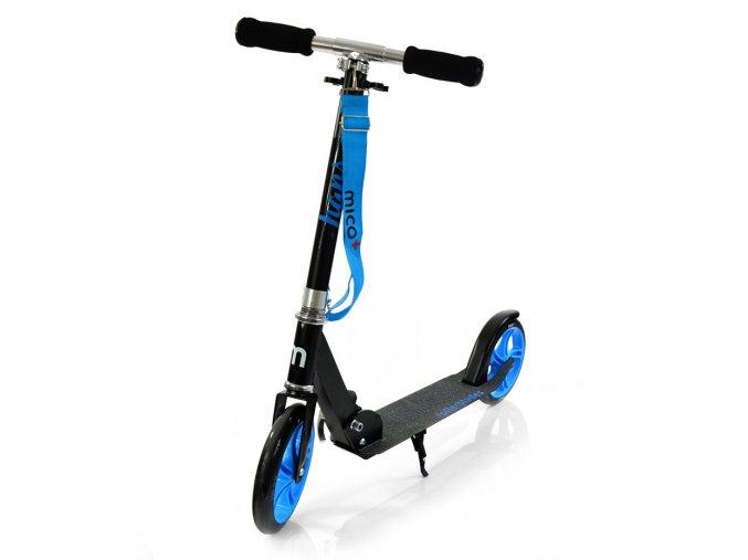 Kolobezka skladaci mico micro hans 200mm barevna modra kola stojanek brzda popruh cerna 1