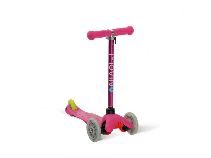 Kolobezka trikolova balancni svitici kola led brzda barevna detska ruzova