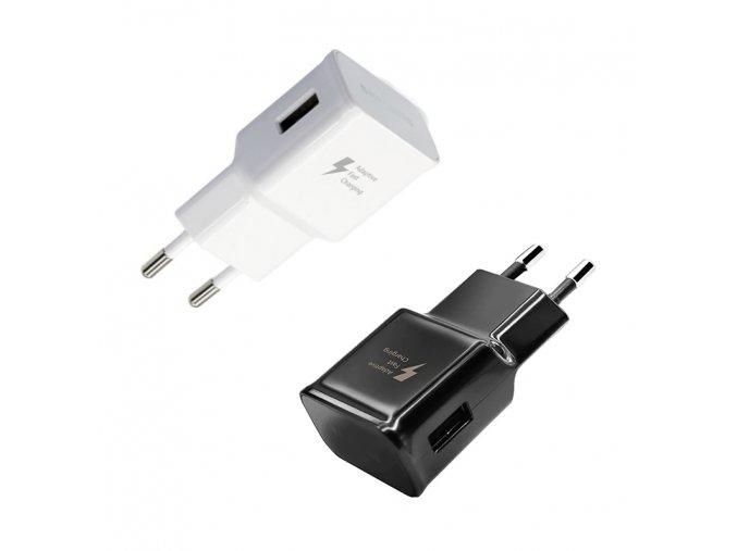Univerzální USB nabíječka, USB slot, černá/bílá