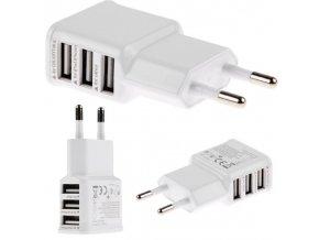 Univerzální USB nabíječka, 3x USB slot, bílá