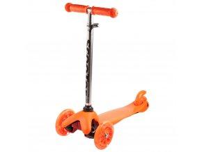 Kolobezka trikolova trojkolka trikolka mini scooter svitici kolecka oranzova