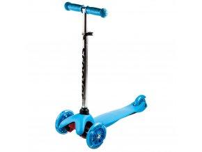 Kolobezka trikolova trojkolka trikolka mini scooter svitici kolecka modra 1