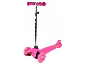 kolobezka detska trikolova balancni svitici kola mini scooter 40kg ruzova 2