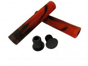 Náhradní grip na řídítka freestyle koloběžky TPR Grip (EDGE Black-red), 2ks