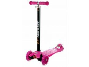 kolobezka detska trikolova balancni svitici kola maxi scooter 60kg ruzova