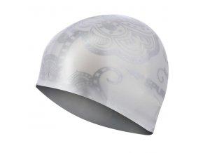 Silikonová čepice SPURT G-Type F221 woman se vzorem, stříbrná