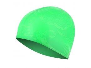 Silikonová čepice SPURT G-Type SE24 woman se vzorem, zelená