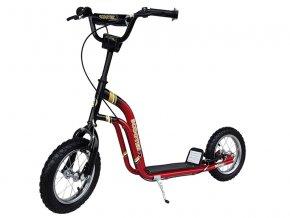 kolobezka nafukovaci kola velka kola brzda stojanek cervena 1