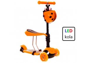 detska kolobezka trikolova odrazedlo svitici led kola kosik pro nejmensi oranzova edit