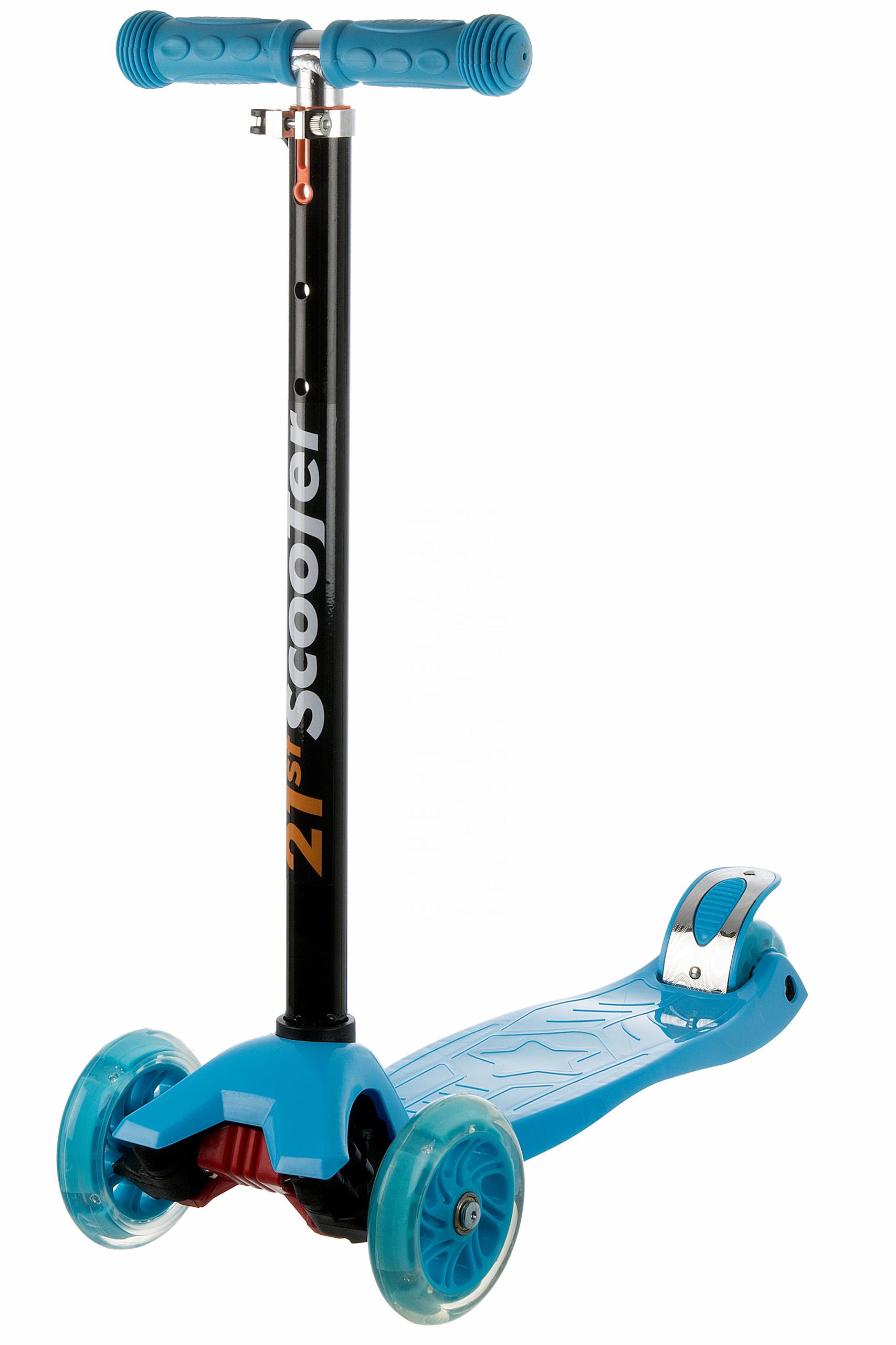 Koloběžka tříkolová MAXI SCOOTER se svítícími kolečky, modrá
