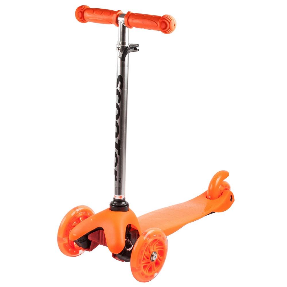 Koloběžka tříkolová MINI SCOOTER se svítícími kolečky, oranžová