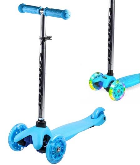 Koloběžka tříkolová MINI SCOOTER se svítícími kolečky, modrá