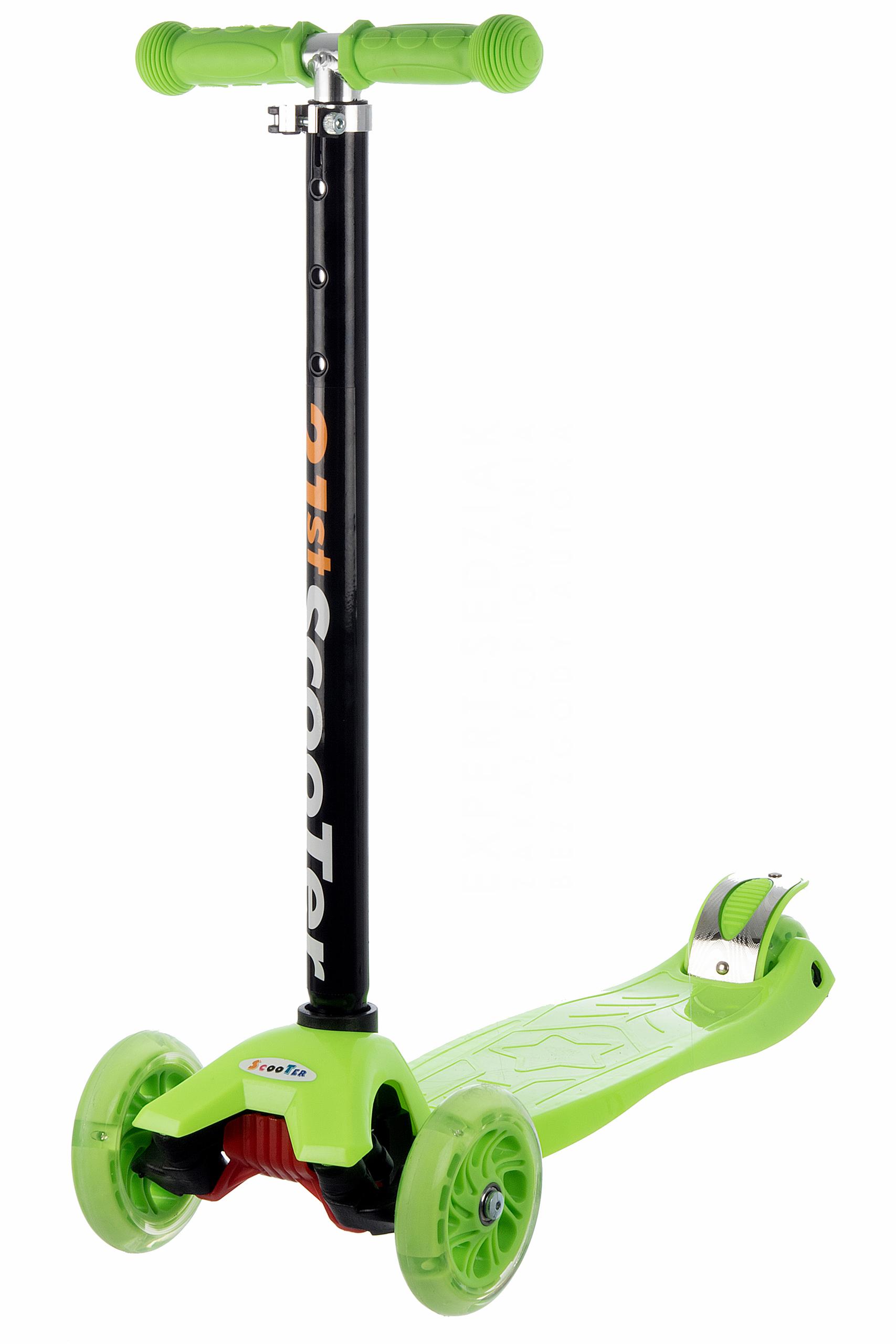 Koloběžka tříkolová MAXI SCOOTER se svítícími kolečky, zelená