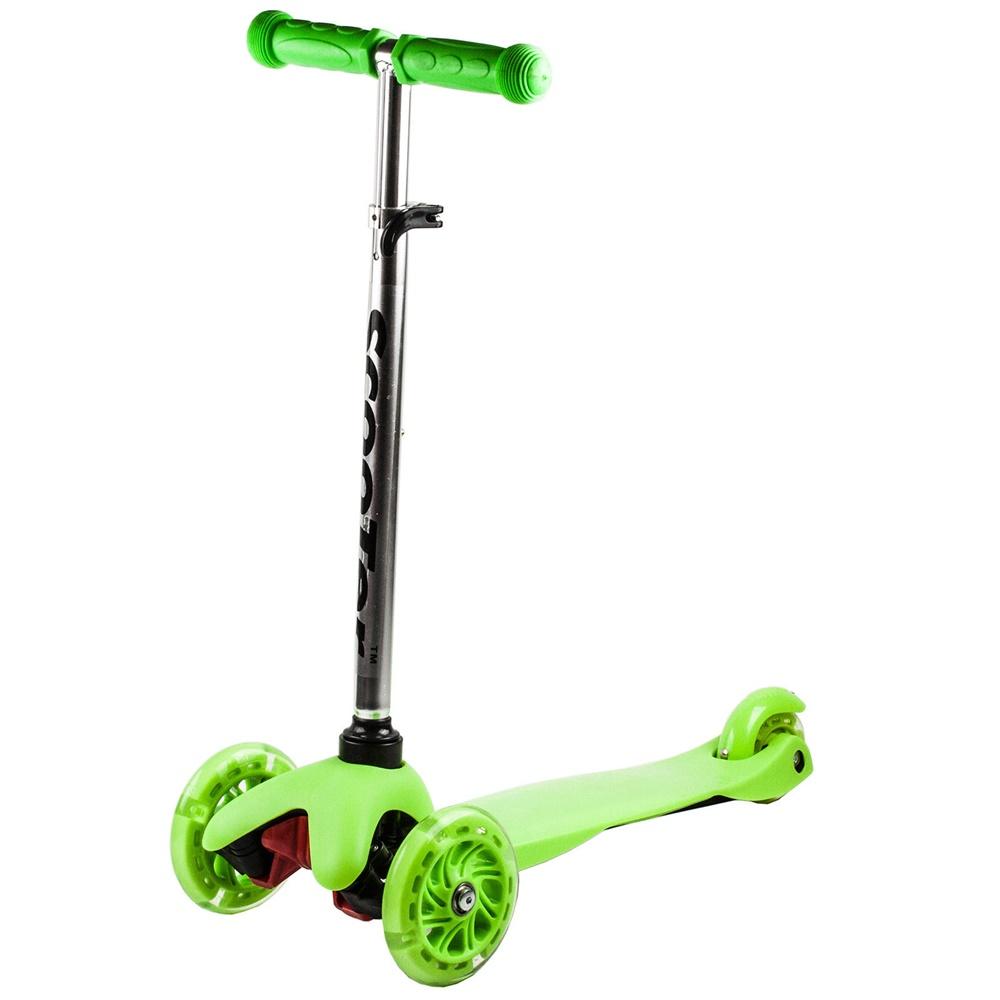 Koloběžka tříkolová MINI SCOOTER se svítícími kolečky, zelená
