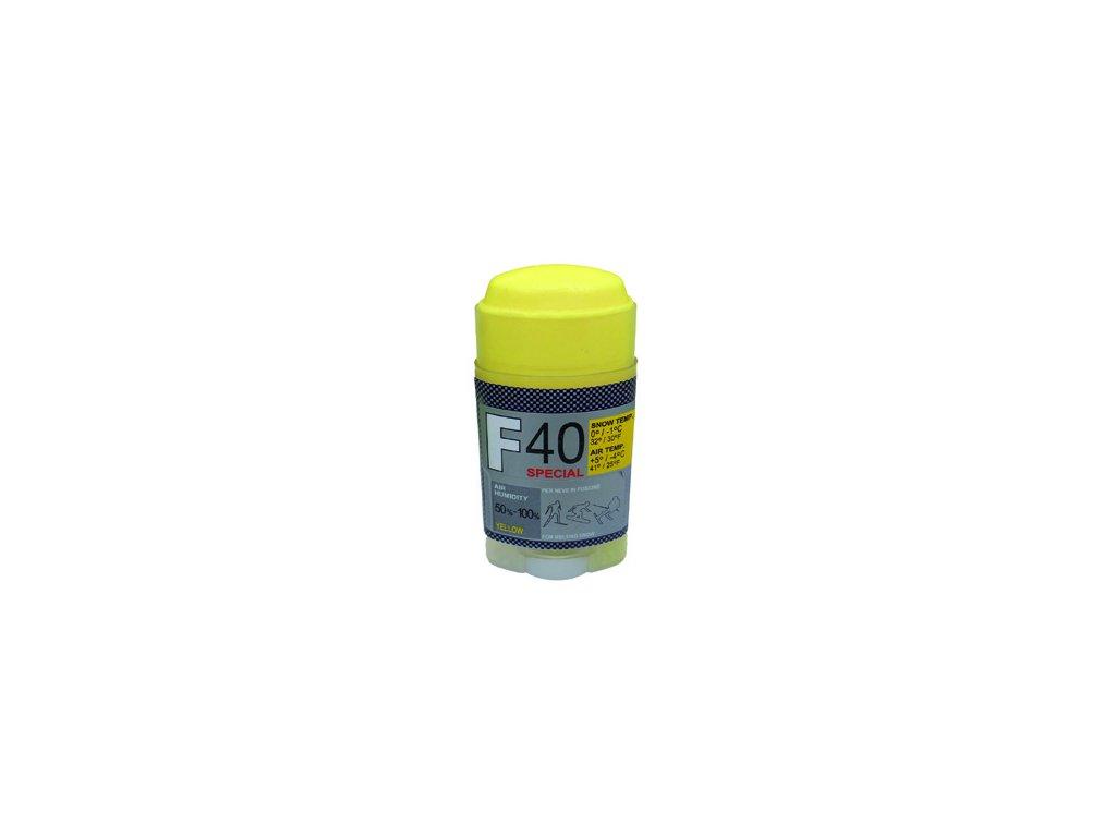 SOLDA F40 SPECIAL  stick gr 30 (hyper fluorový vosk - tyčinka) Oranžový: teplota sněhu -2°/-6°C nebo teplota vzduchu +2°/-9°C