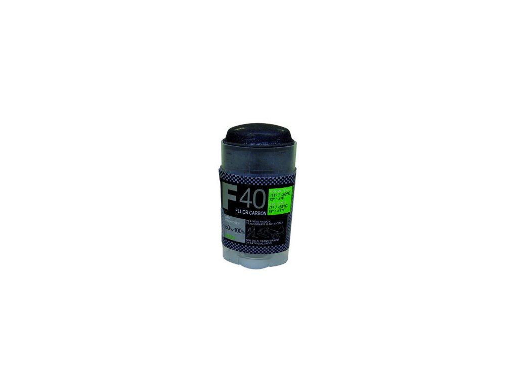 SOLDA F40 CARBON  stick  gr 30 (hyper fluorový vosk + carbon) Zelený: teplota sněhu -12°/-20°C nebo teplota vzduchu -14°/-25°C