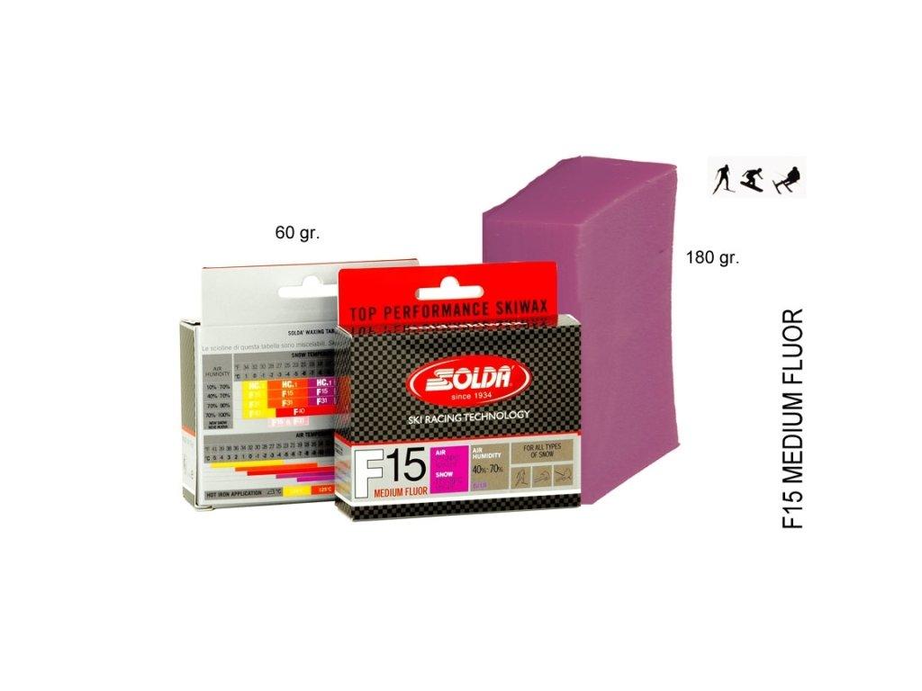 SOLDA F15 MEDIUM FLUOR   gr 60 (středně fluorový vosk na nový sníh) Růžový: teplota sněhu -2°/-8°C nebo teplota vzduchu +1°/-10°C