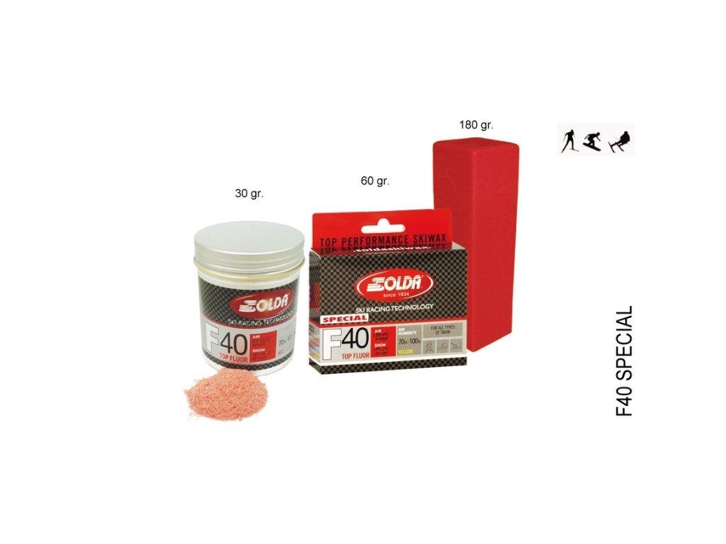 SOLDA F40 SPECIAL  gr 60 (hyper fluorový vosk) Žlutý: teplota sněhu 0°/-1°C nebo teplota vzduchu +5°/-4°C