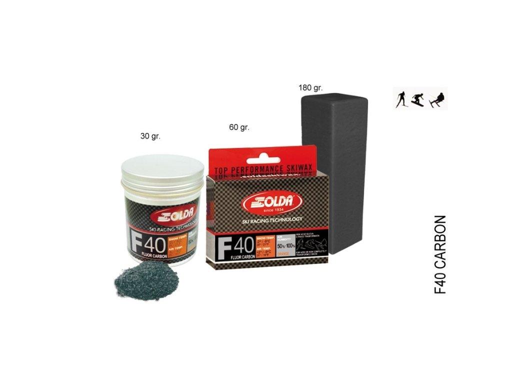 SOLDA F40 CARBON  gr 60 (hyper fluorový vosk + carbon) Žlutý: teplota sněhu 0°/-1°C nebo teplota vzduchu +5°/-4°C