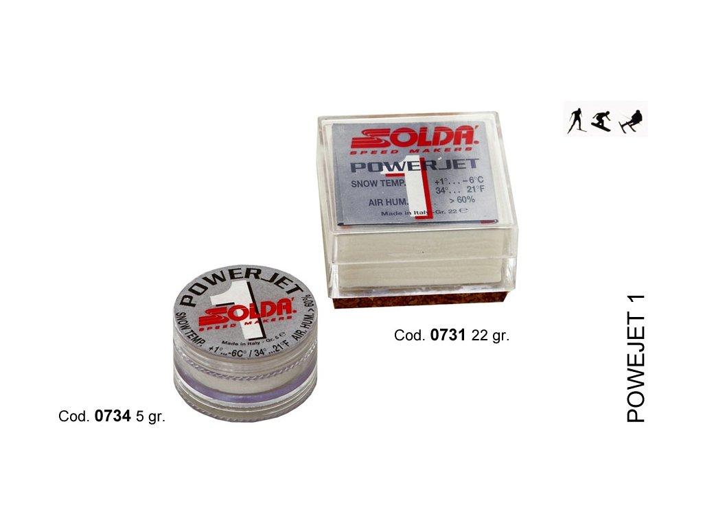 SOLDA POWER JET 1  gr 22 (Závodní aditivum (blok 22g) pro vlhkost vzduchu%: 60-100 - Teplota sněhu. 0°/-6°C - Teplota vzduchu +5°/-10°C)