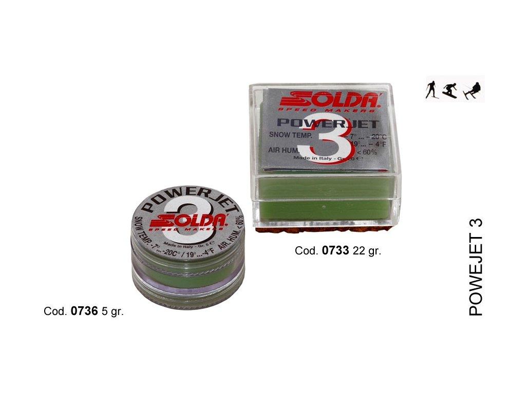 SOLDA POWER JET 3  gr 22 (Závodní aditivum (blok 22g) pro vlhkost vzduchu%: 10-60 - Teplota sněhu. -7°/-20°C - Teplota vzduchu -3°/-24°C)