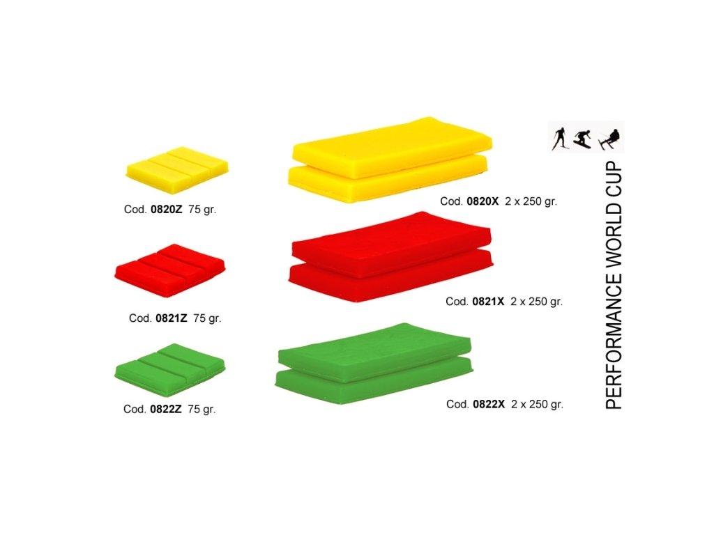 SOLDA PERFORMANCE red (2 X gr250 ) (Nízkofluorový vosk 2 x250g, Červený, Teplota sněhu -1°/-8°C nebo teplota vzduchu -4°/-12°C)