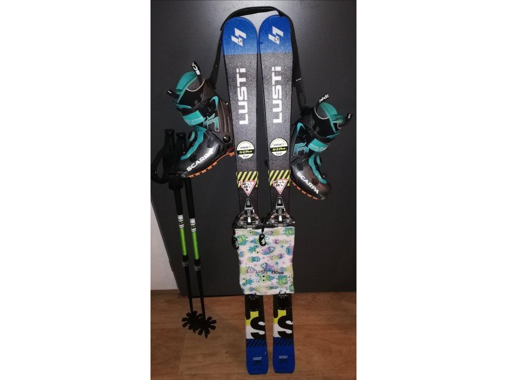 Dětské skialpinistické lyže 140 cm + vázání tour light + stoupací pásy