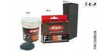 SOLDA F40 CARBON  powder gr 30 (hyper fluorový vosk + carbon) Zelený: teplota sněhu -12°/-20°C nebo teplota vzduchu -14°/-25°C