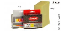SOLDA F31 HIGH FLUOR   gr 60 (vysoko fluorový vosk) Žlutý: teplota sněhu 0°/-1°C nebo teplota vzduchu +5°/-4°C