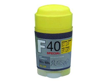 SOLDA F40 SPECIAL  stick gr 30 (hyper fluorový vosk - tyčinka) Žlutý: teplota sněhu 0°/-1°C nebo teplota vzduchu +5°/-4°C