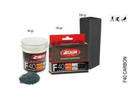 SOLDA F40 CARBON  powder gr 30 (hyper fluorový vosk + carbon) Oranžový: teplota sněhu -2°/-6°C nebo teplota vzduchu +2°/-9°C