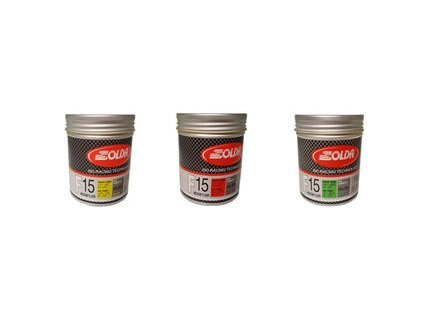 SOLDA F15 paste 180 ml (středně fluorový vosk - pasta) Žlutý: teplota sněhu 0°/-1°C nebo teplota vzduchu +5°/-4°C