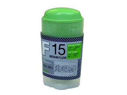 SOLDA F15 MEDIUM FLUOR   stick gr 35 (středně fluorový vosk - tyčinka) Zelený: teplota sněhu -12°/-20°C nebo teplota vzduchu -14°/-25°C