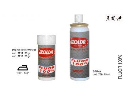 SOLDA FLUOR 100  powder  gr 20 (Závodní aditivum pro vlhkost vzduchu%: 50-100 - Teplota sněhu. 0°/-5°C - Teplota vzduchu +5°/-8°)