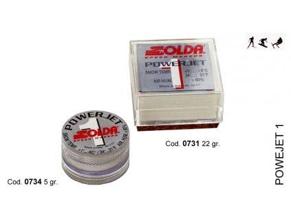 SOLDA POWER JET 1  gr 5 (Závodní aditivum (blok 5g) pro vlhkost vzduchu%: 60-100 - Teplota sněhu. 0°/-6°C - Teplota vzduchu +5°/-10°C)